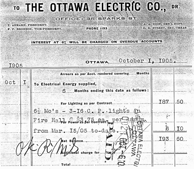 D Receipt 1905 Electric